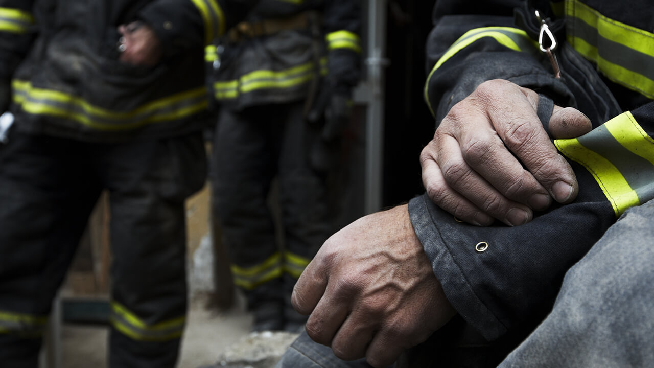 Bunker Gear: Hand on Arm. Photo from FSTAR