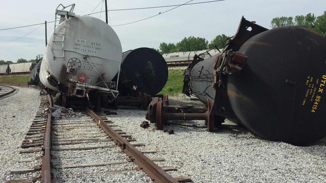 Railcars after a derailment