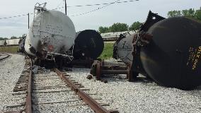 Railcars after a derailment