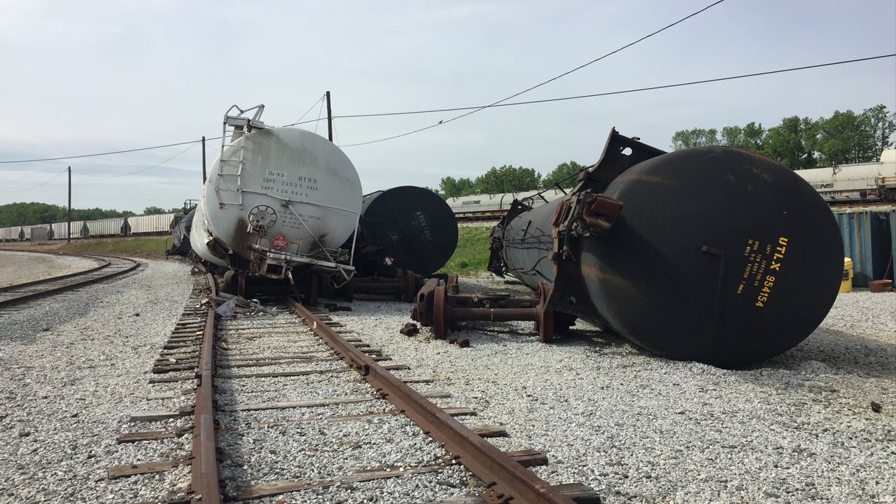 Derailed rail cars