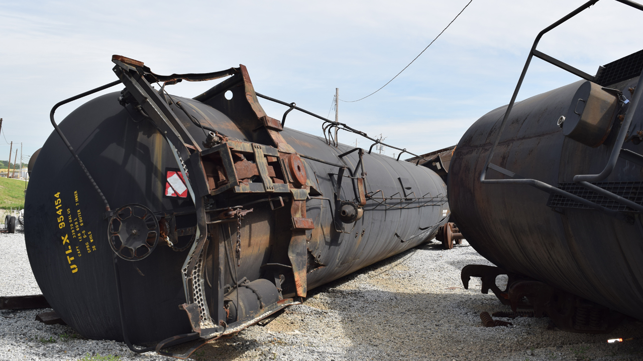 overturned rail car