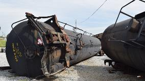 overturned rail car