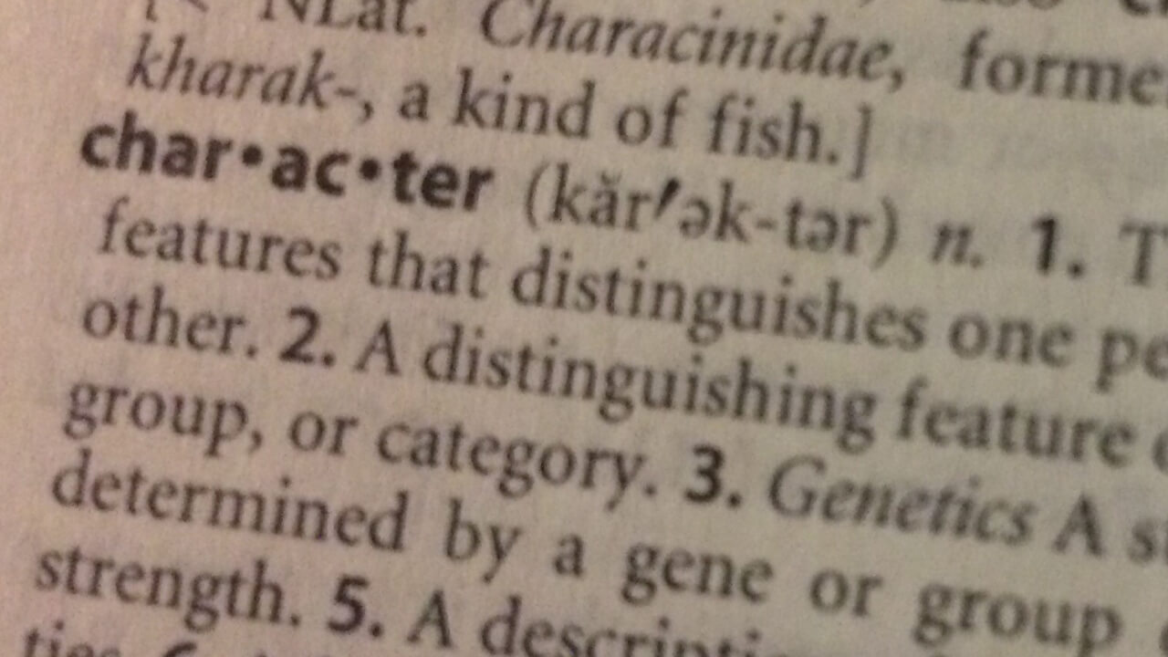 Dictionary definition of character