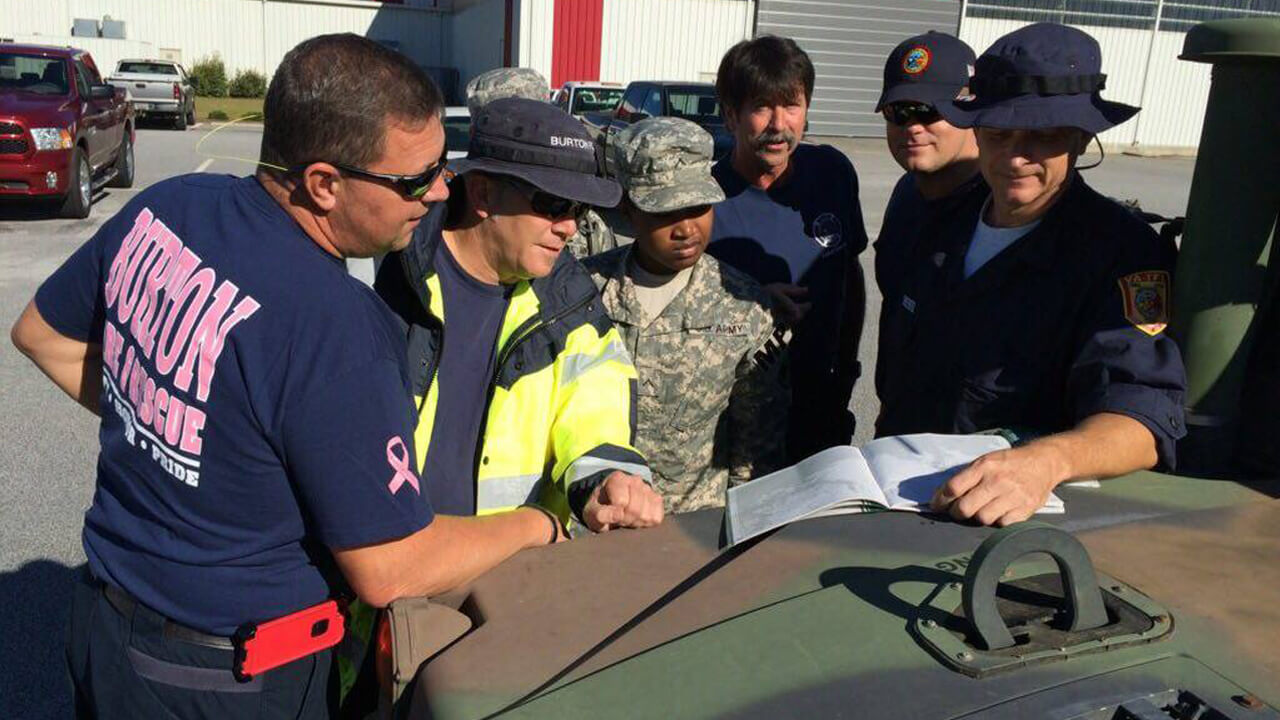 VA Task Force 1 Urban Search and Rescue Team works with the SC National Guard during severe flooding in Oct 2015. Photo courtesty of Fairfax County Fire and Rescue Department, FEMA