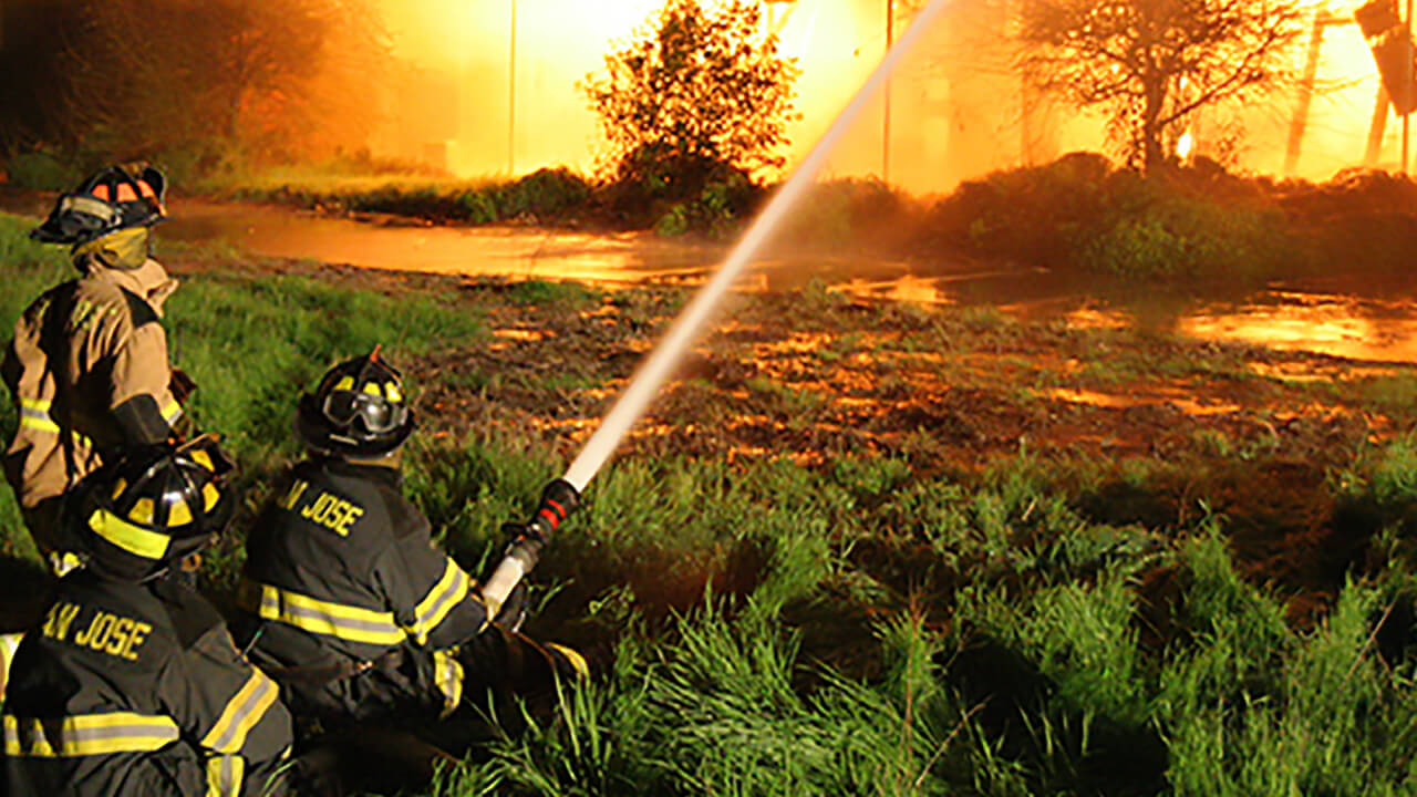 Firefighting at night at a structure fire