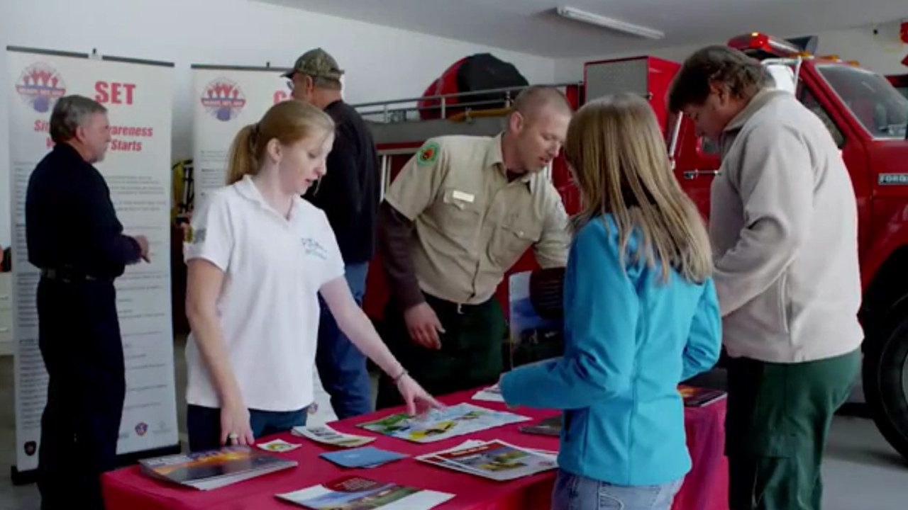 Community members learn about wildfire readiness at a fire department open house