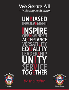 A poster from IAFC featuring a design that says We Serve All.