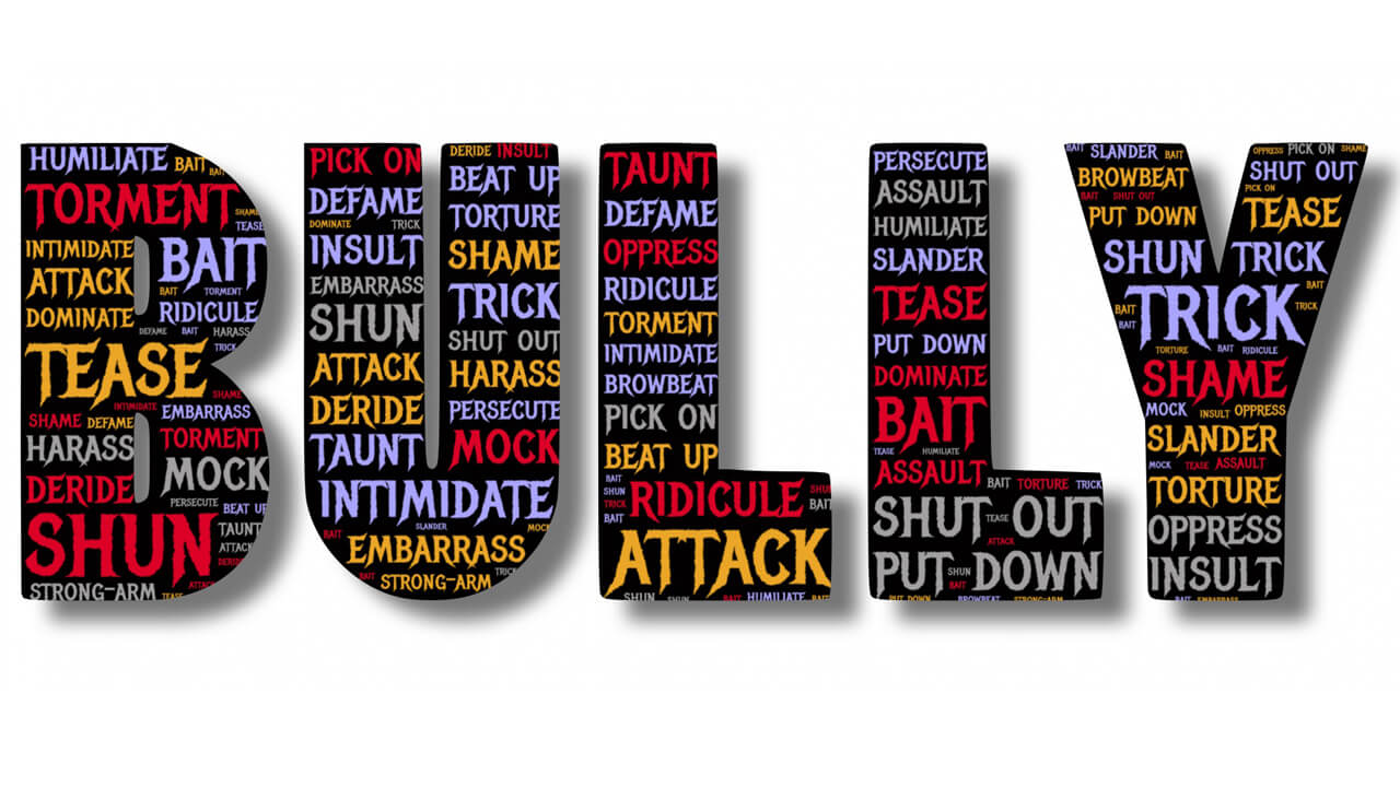 The word bully with tactics in each letter