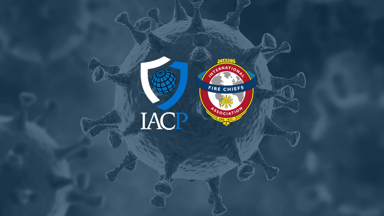 IACP and IAFC logos on COVID-19 background
