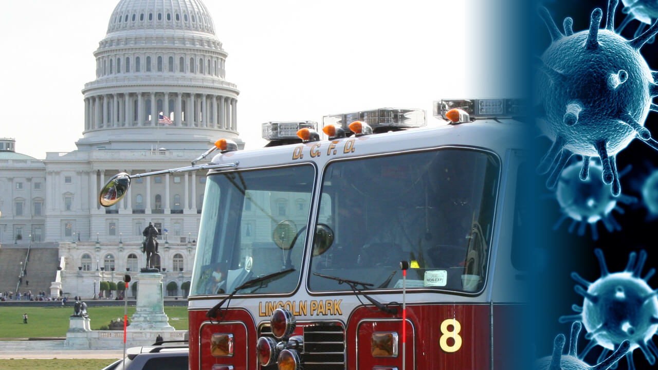 New fire truck in front of Capitol COVID19