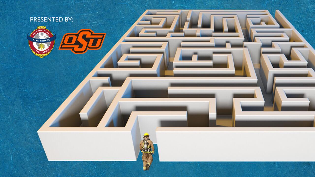 Firefighter entering a maze