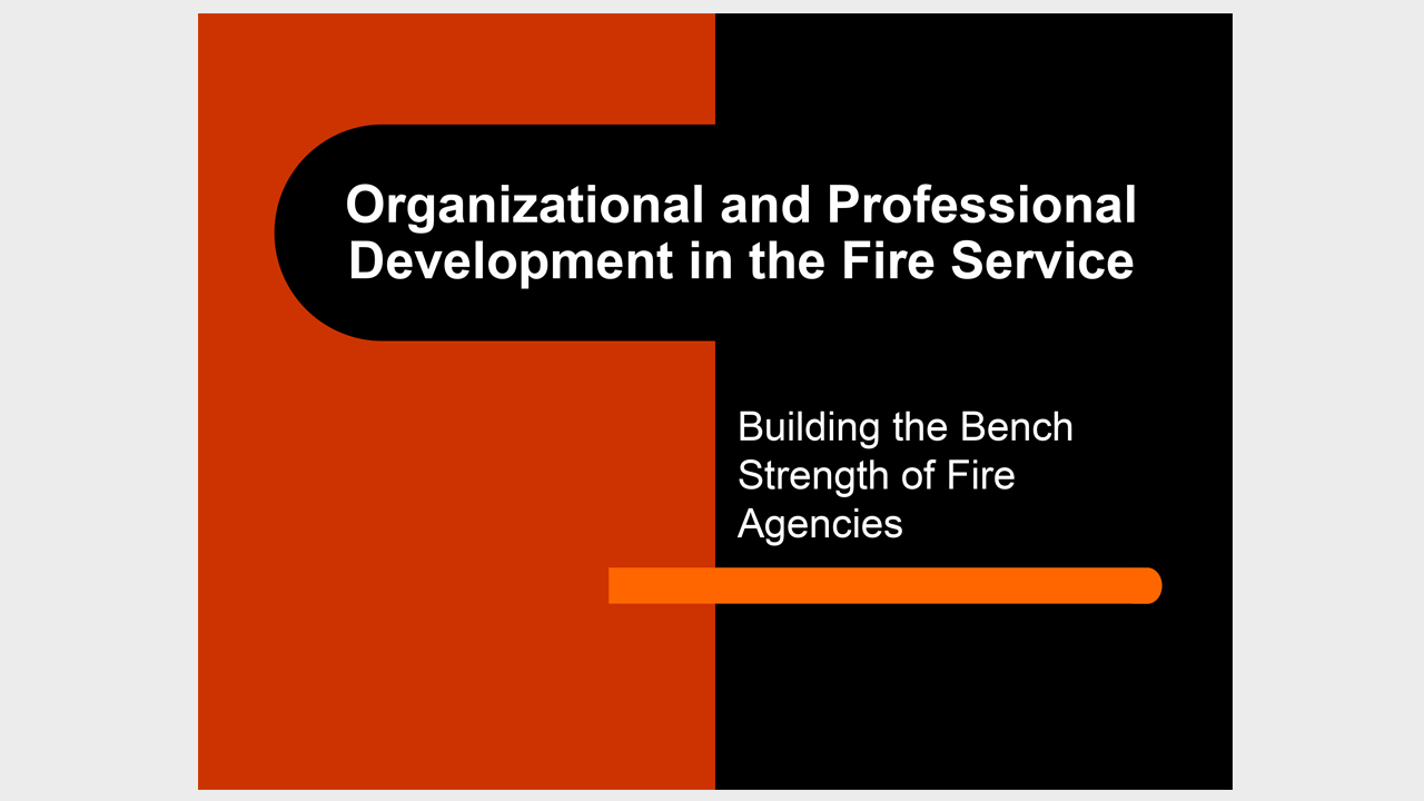 Organizational and Professional Development in the Fire Service - Building the Bench Strength of Fire Agencies