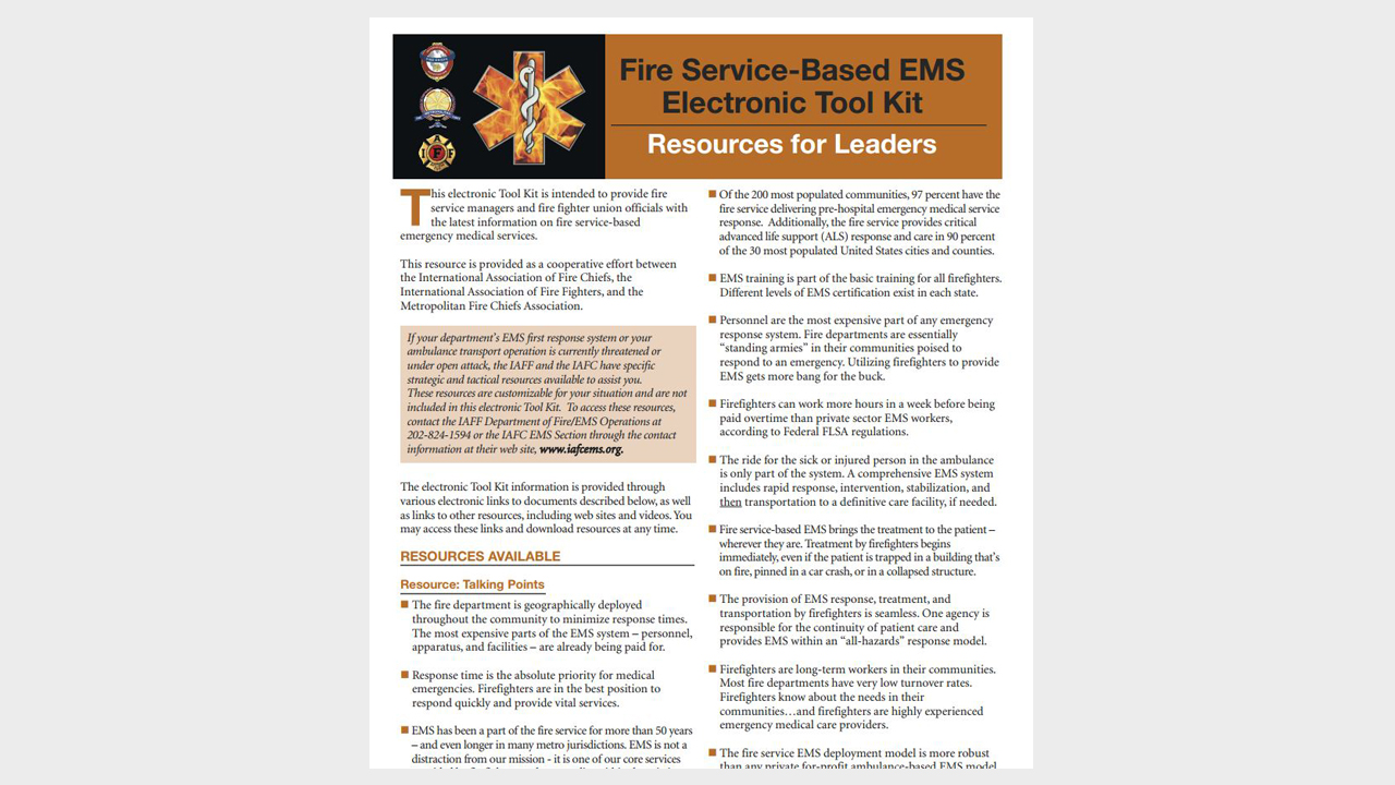 Fire Service-Based EMS Electronic Toolkit Resources for Leaders