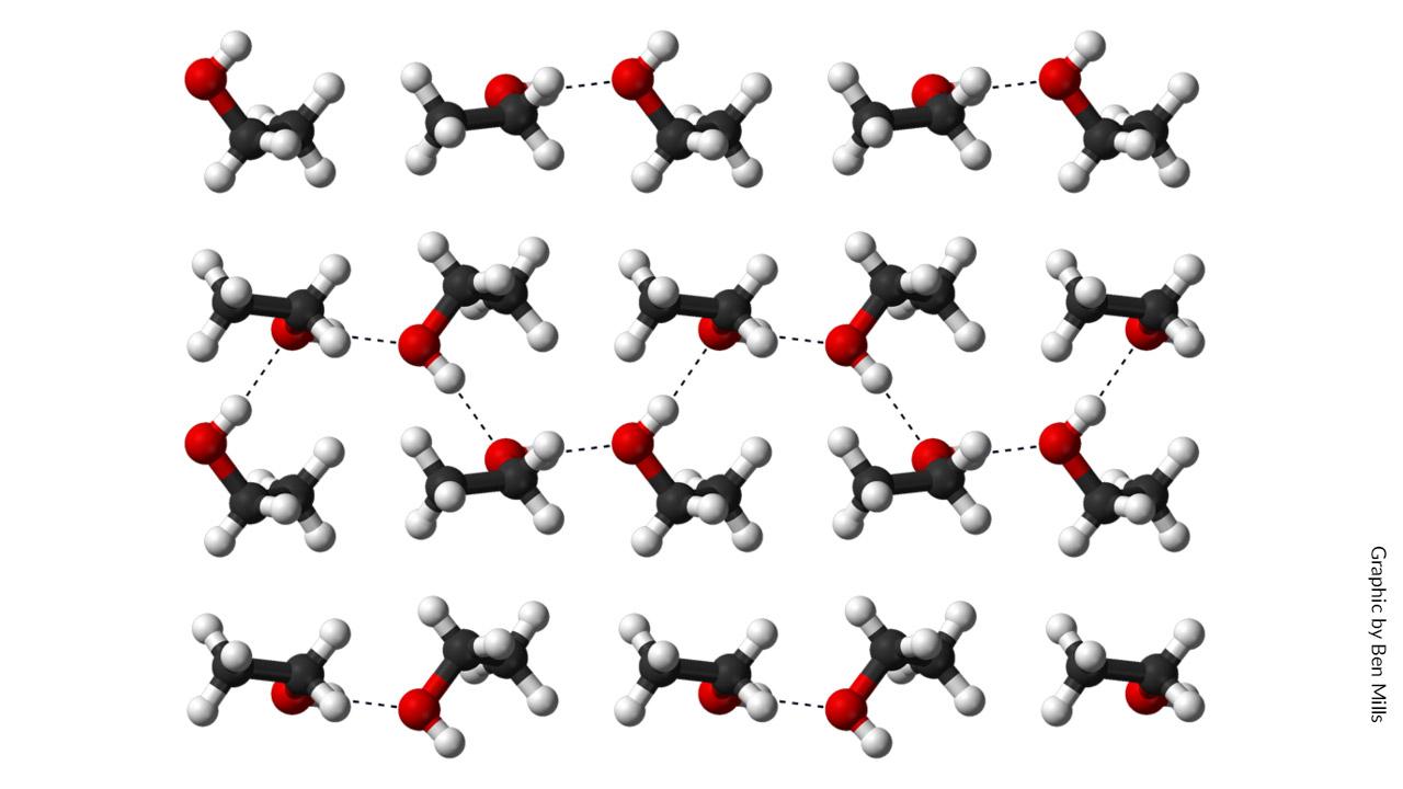 Hydrogen bonding in solid ethanol at 186 degrees C