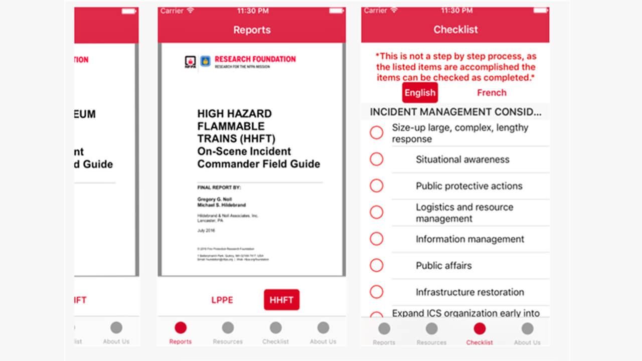 NFPA mobile app screenshots