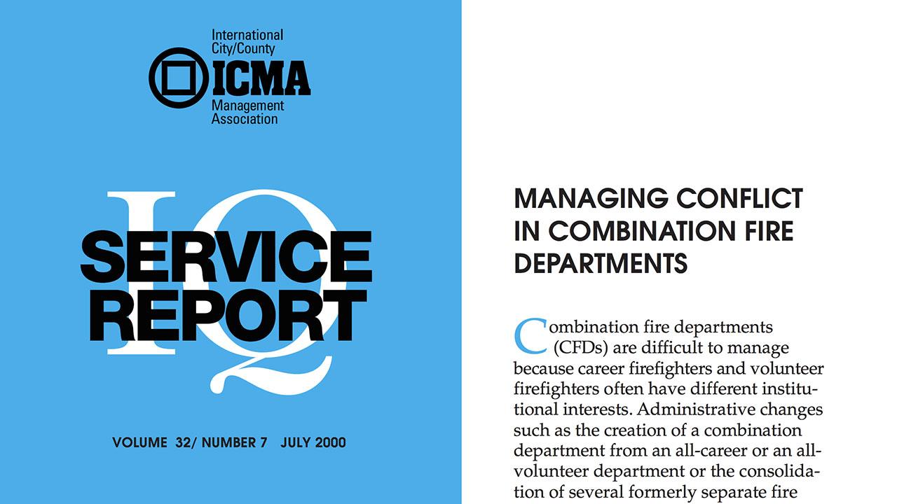 ICMA report: Managing conflict in combination departments