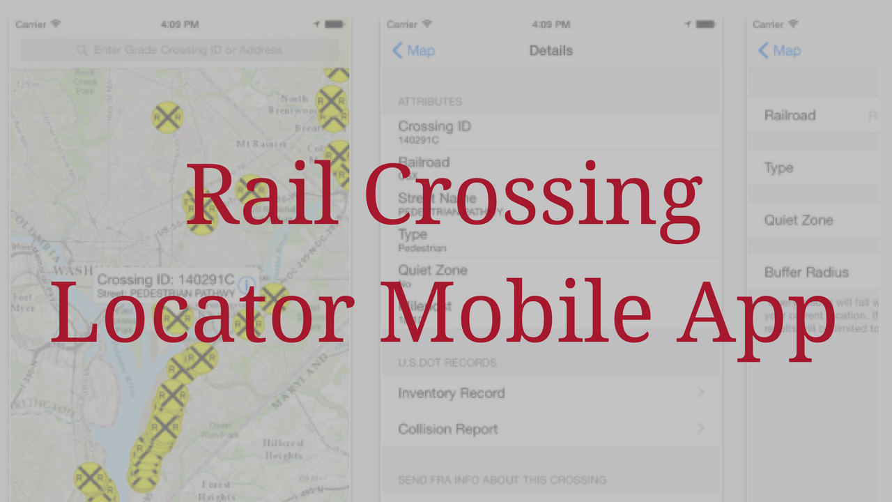 Rail Crossing Locator Mobile App 1280x720