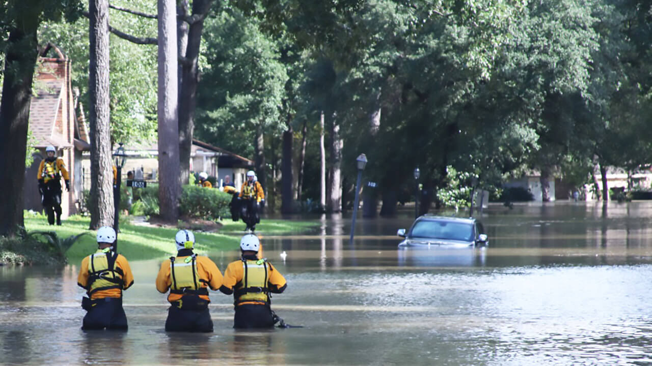 Members of FEMA's USAR NE-TF1 comb a neighborhood for Hurricane Harvey survivors. (FEMA News Photo).