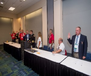 Chief Tom Jenkins, IAFC President and Chairman of the Board, swears in new EFO Section Board Members