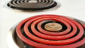 Stove top with hot burner