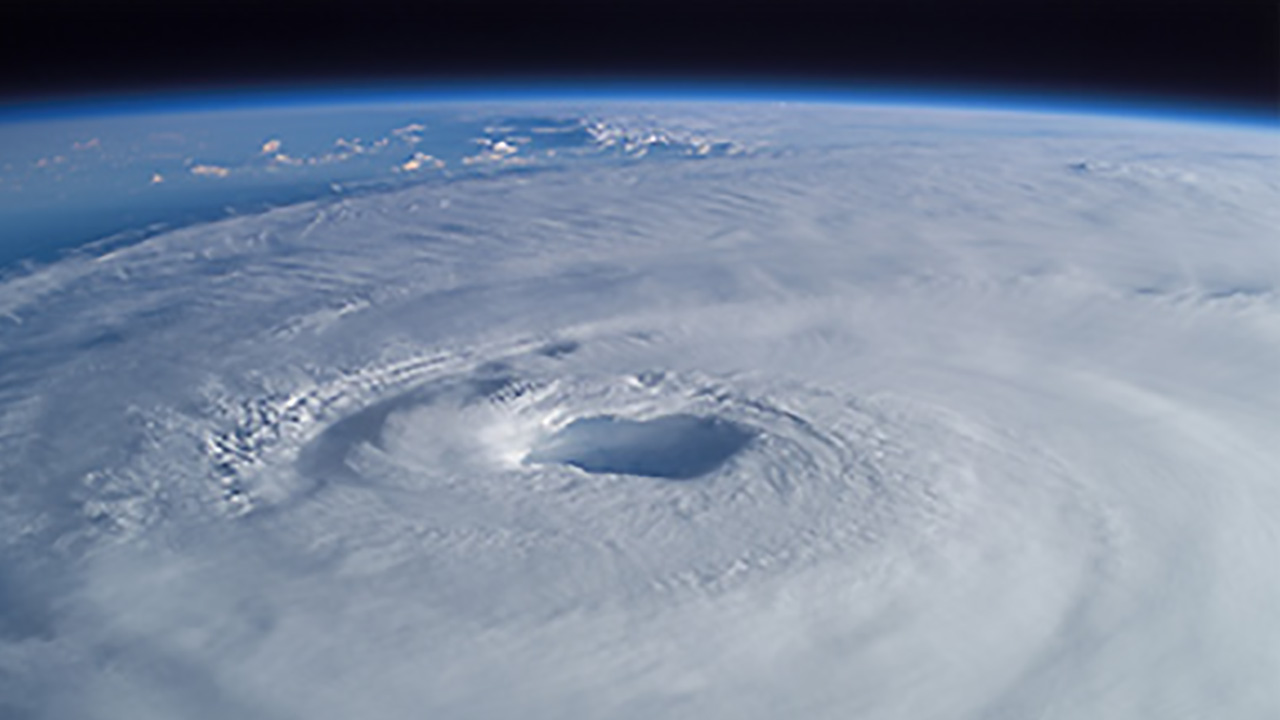 Eye of a hurricane from space
