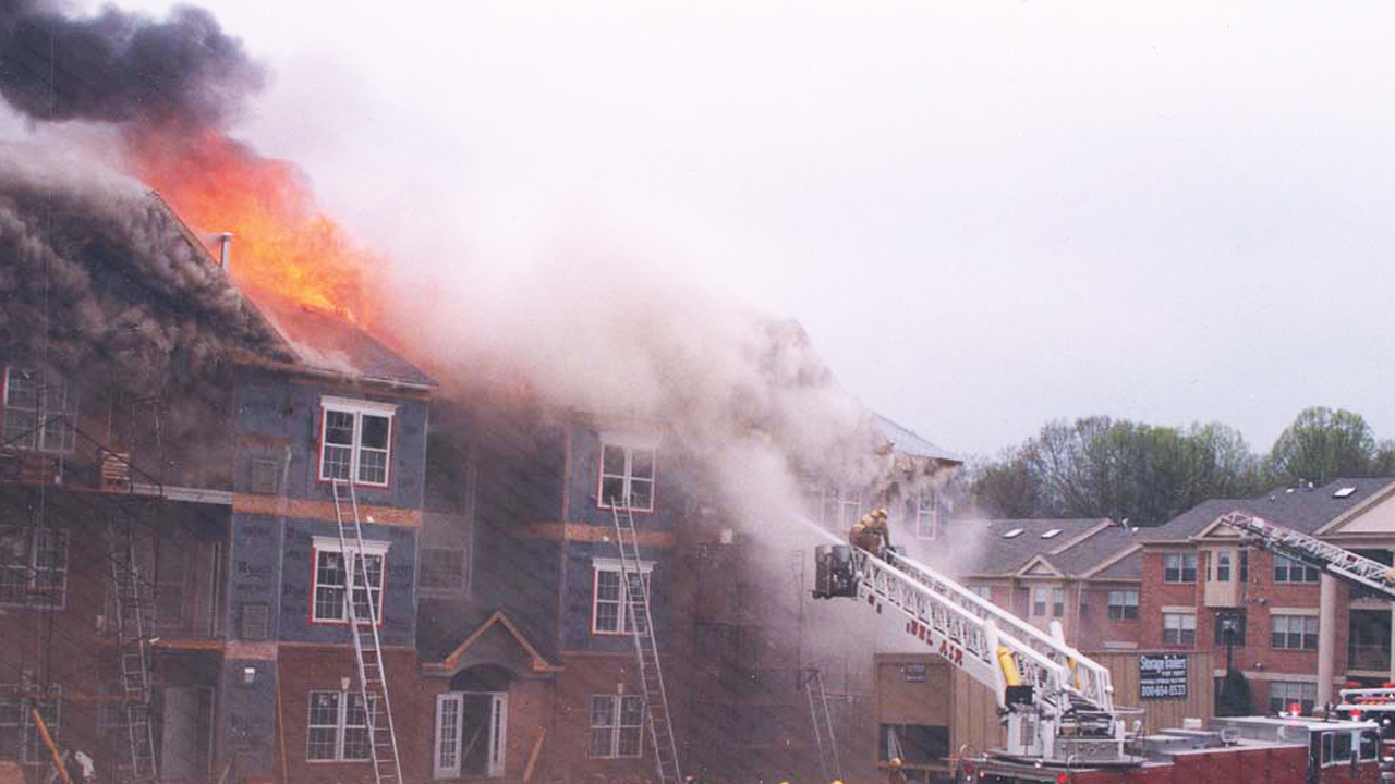 Townhouses under construction burning.