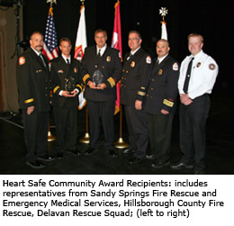 2011Heart Safe Community Award Recipients (left to right): Representatives from Sandy Springs Fire Rescue and Emergency Medical Services, Hillsborough County Fire Rescue, Delavan Rescue Squad