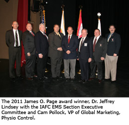 2011 James O. Page award winner, Dr. Jeffrey Lindsey with the IAFC EMS Section Executive Committee and Cam Pollock, VP of Global Marketing, Physio Control