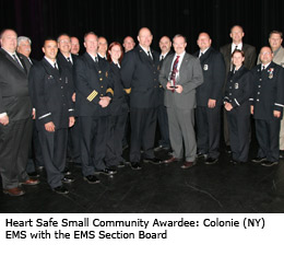 Heart Safe Small Community Awardee: Colonie (NY) EMS with the EMS Section Board
