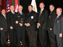 2012 James O. Page EMS Achievement Award Recipient Fire Chief William Metcalf (third from left) with EMS Section board members and Physio-Control President Brian Webster (third from right)'